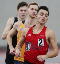 Detroit Mercy's Scott Smith leads the pack during the men's 1 milerace at Youngstown State University on Saturday, Feb. 3, 2018